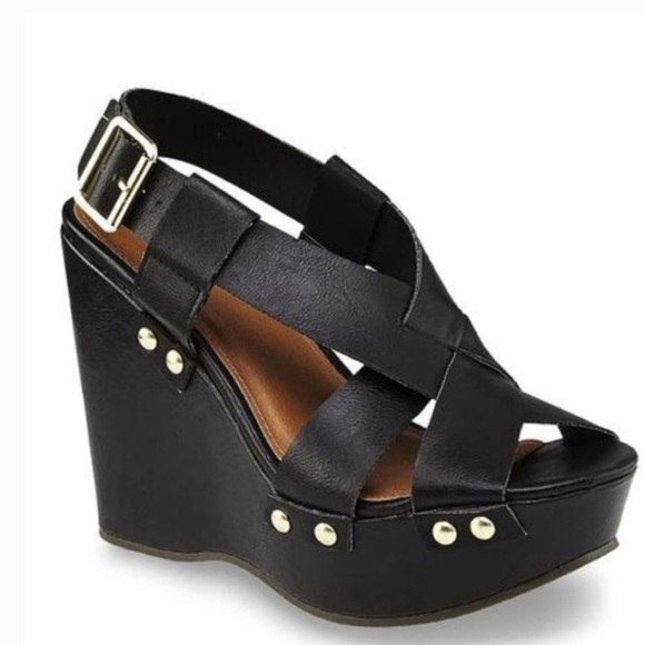 Tully Black Studded Wedge Sandal